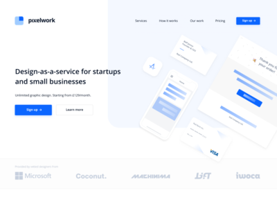 Pixelwork Landing Page daas design agency landing page website