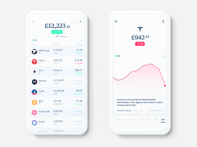 Stocks and Shares 📈 mobile ui mobile app stocks shares investing app cryptocurrency ui design fintech finance