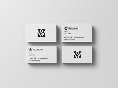 STEELWOOD simple logo vector monogram logo monogram letter mark monogram business card branding minimal logo design design logo
