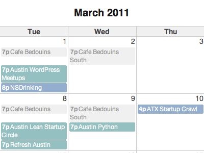 ATX Web Events Calendar by Dave Rupert | Dribbble | Dribbble