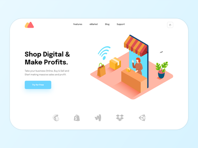 YouShop Hero freelance hero xd design ui  ux minimal illustration