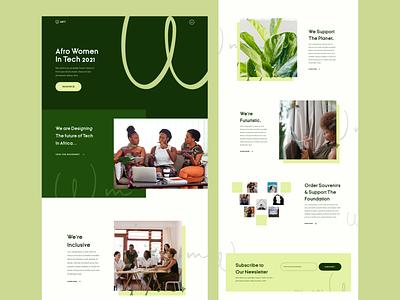 Afro Women in Tech Landing Page uxdesign pattern website landing page web design feminism feminist ux uiux ui tech afro women