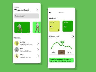 Golf sports ux app ui design