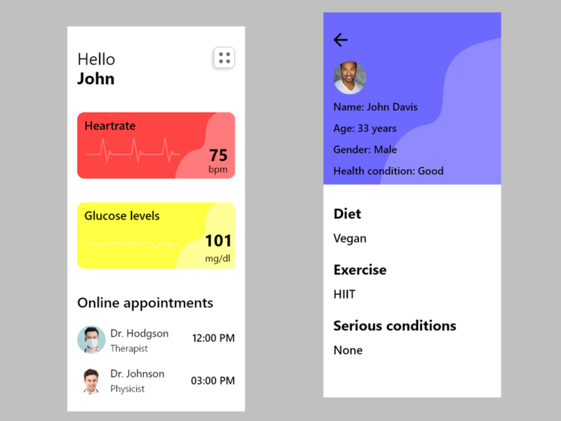 Medical UI medical ux app ui design