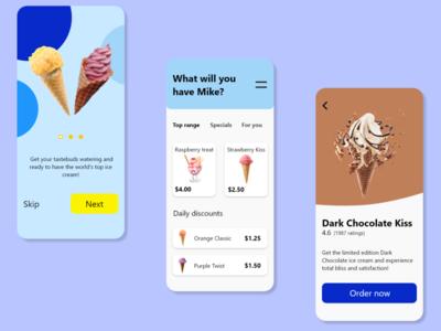 Ice cream Shop ice cream ux app ui design