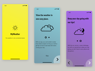 Weather app onboarding gradient weather ux app ui design