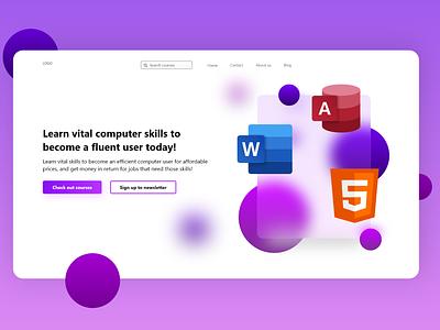 Computer skills web exploration glassmorphism website ux app ui design