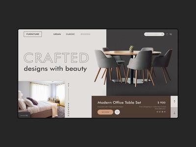 Furniture Shop ecommerce illustration website minimal flat branding ui web design