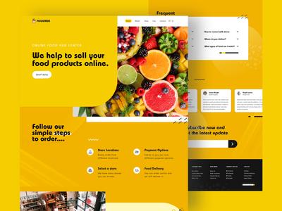 Foodhub website web minimal ui illustration flat ecommerce design branding