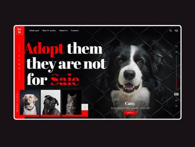 Pet me dark animal dog ux ui illustration web website design branding