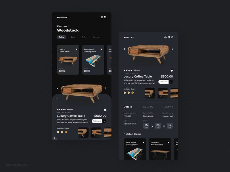 Woodstock app design ps xd furniture wood minimal flat ecommerce dark ux app website web ui design branding