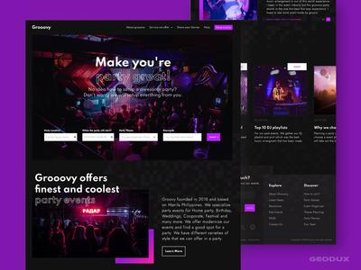 Grooovy business uidesigner uidesign uxdesign webdesigner webdesign festival event party event party dark ecommerce ux website web ui design branding