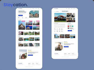 Staycation house villa hotel holiday vacations vacation website design website web ux icon branding illustration logo uidesign ui design art app