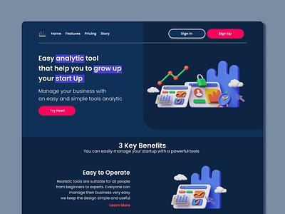 Analytic web design landing page web 3d design ui art