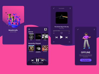 MusicLyfe music player music app music 3d animation ux character 3d ui illustration design