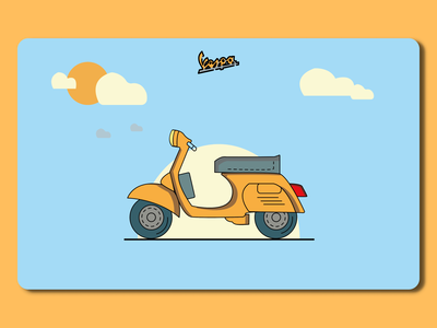 Classic Vespa typography icon branding vector logo character art illustration design vespa