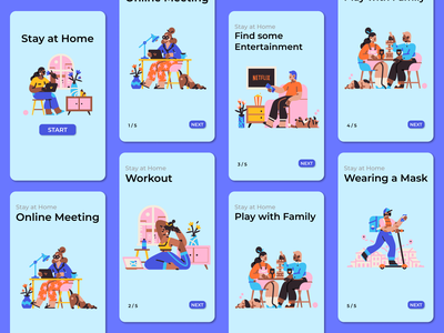 Stay at Home mobile design mobile ui mobile app covid mobile vector app characters ux ui character art illustration design