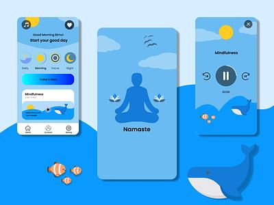 Namaste - Meditation App mobile ui mobile app mobile uiuxdesign uiux vector logo icon app characters ux ui character art illustration design
