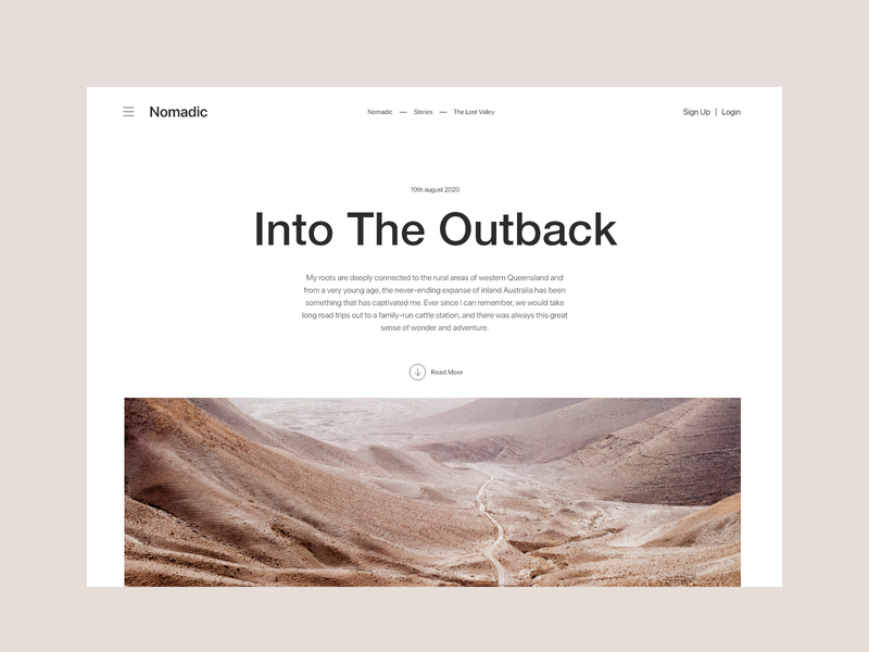 Nomadic - Article Page article page article clean minimal website blog uiux concept design ux ui