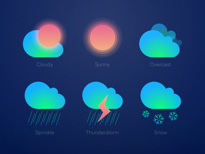 Weather sprinkle snow thunderstorm overcast sunny cloudy illustrator weather