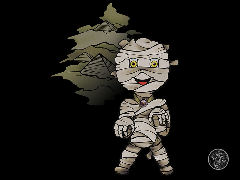 Chibi Monsters: Mummy vector art vector paper ink illustration drawing digital concept black artwork art photoshop adobe hand drawn mummy chibi character design character
