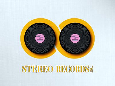 Stereo Records pink letter s orange vinyl design fun inspiration logo