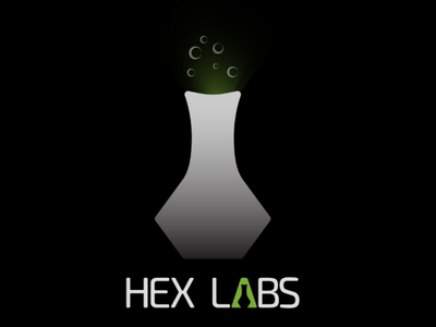 HexLabs typography minimal science laboratory illustration art logo