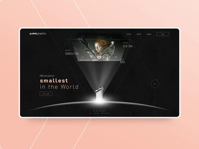 World's smallest HD projector modern projector dark vensko shop ui website web design