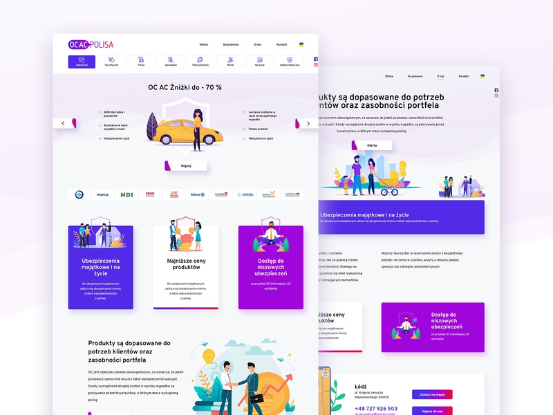 OCACpolisa website modern bright illustration insurance wiwi logo branding vensko ui website web design