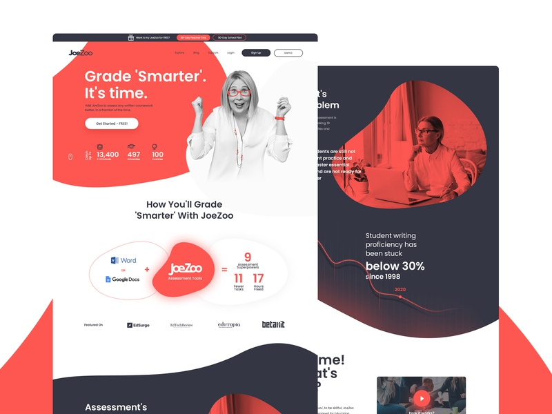 JoeZoo website - web application teacher vensko school education clean ui website web design