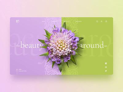 Flower shop concept - Beauty around us animation landing wiwi vensko website ui green pink beauty concept shop flower web design