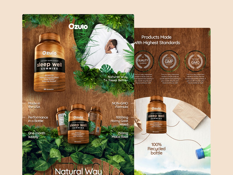 Supplement Brand Landing Page for Amazon - Wood & Forest Style concept ecommerce vensko forest wood webdesign amazon website supplement landing