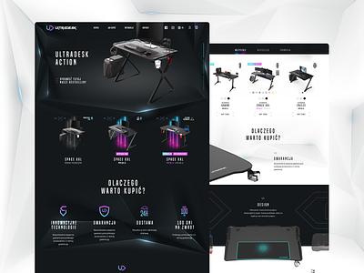 Ultradesk Gaming Tables neon modern table gaming ui web design website