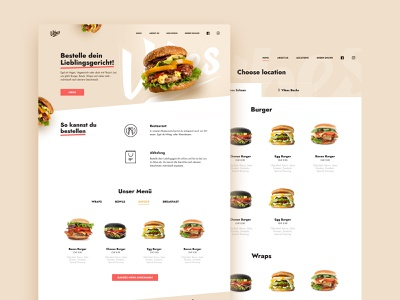 Vibes Restaurant website design clean ui shop ecommerce wiwi hamburger fastfood webdesign website