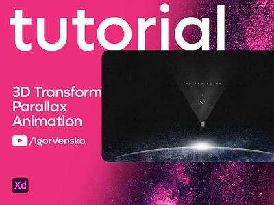 Adobe XD Tutorial - 3d Transform and Parallax Animation parallax 3dtransform website space motion tutorial adobexd web design vensko animation