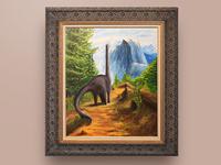 Dino traveling - Acrylic Painting