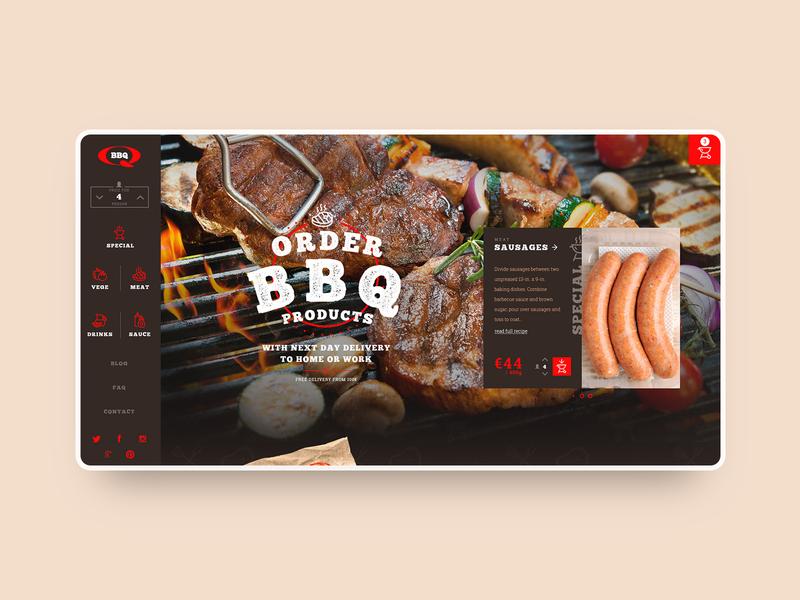 BBQ product order concept order bbq webdesign dark vensko ui shop ecommerce website web design