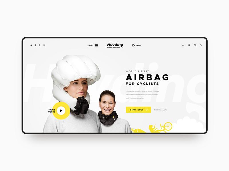 Hovding - Airbag for cyclists luxury branding ecommerce minimal vensko ui website web design clean white bike airbag