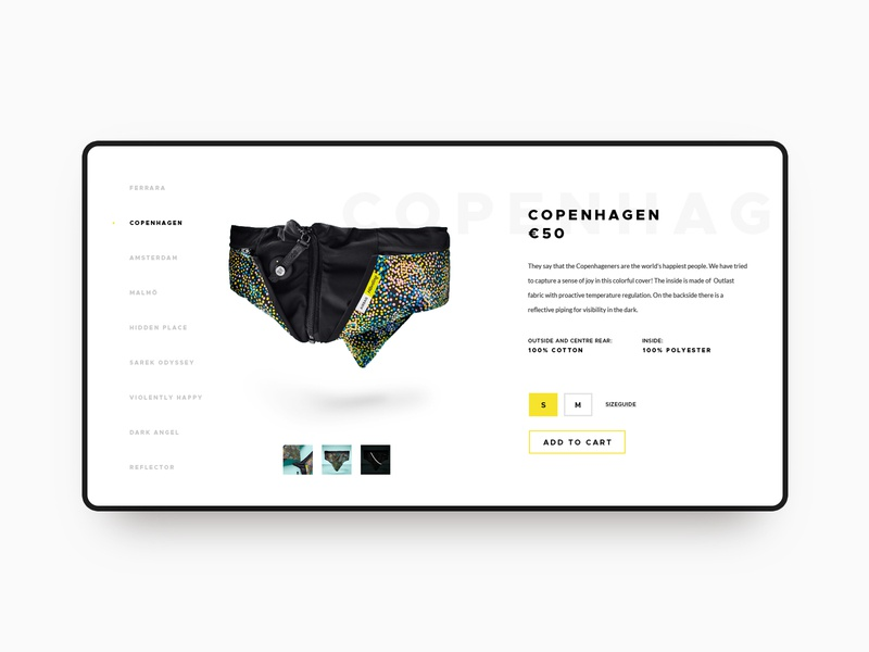 Airbag for cyclists - product slider branding ui luxury shop airbag bike hovding vensko website web design