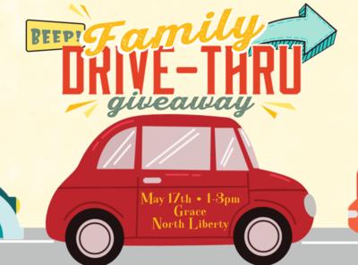 Children's Ministry Drive-Thru Promo poster design vector art event poster