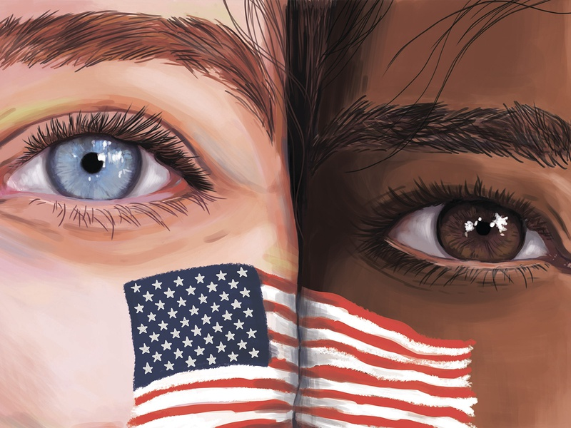 "Illustration on the theme ""Patriots"" patriots portrait eyes digital didgital illustration drawing illustration idea design"