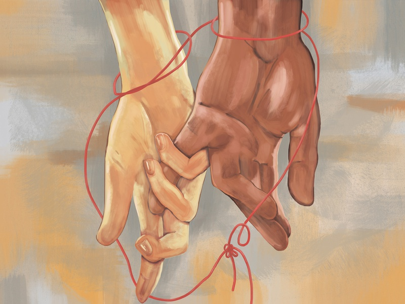 "Illustration on the theme ""Love"". digital art thread connection hands people love drawing digital illustration art"