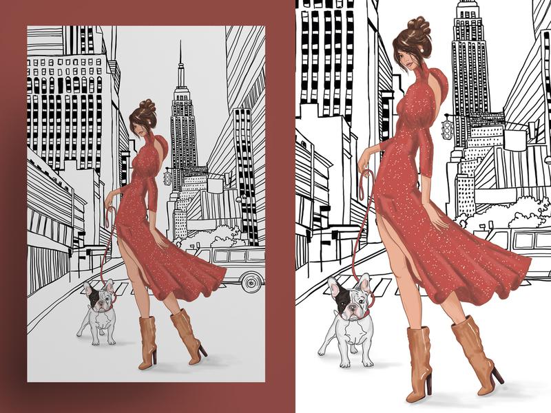 "Illustration ""Fashion City"" by Masha Van for Intalence Art rome london paris new york girls models fashion fashion illustration digital illustration"