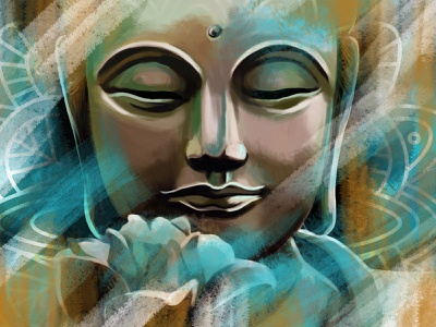 """Serenity of Buddha"" by Masha Van for Intalence Art buddha relax serenity art painting creative arts digital art digital illustration illustration"