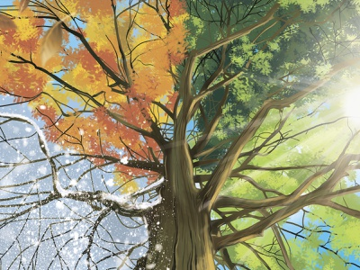 """Seasons"" by Masha Van for Intalence Art idea tree seasons digital art painting art digital illustration illustration"