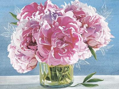 """""""Peonies"""" by Masha Van for Intalence Art retro peonies pattern flowers painting digital art creative arts digital illustration illustration"""