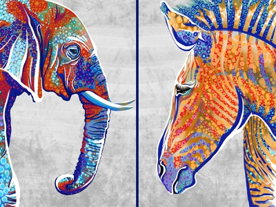"""""""Animals"""" by Masha Van for Intalence Art painting"""