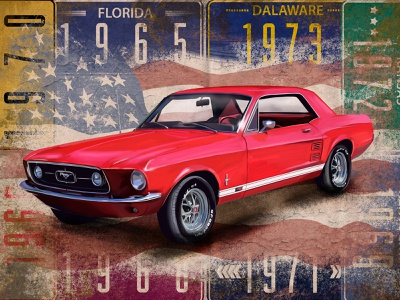 """""""Ford Mustang"""" by Masha Van for Intalence Art design idea retro cars"""