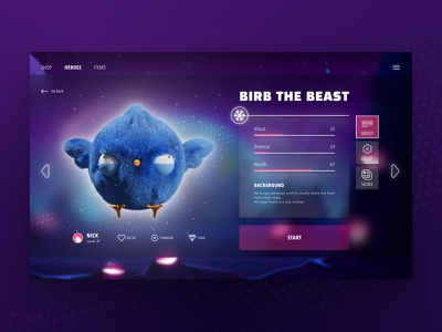 Birb the Beast - character selection videogames user experience character design character videogame userinterface design blender 3d blender 3d art 3d uidesign userinterface ui