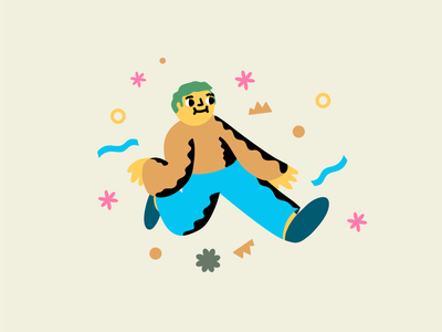 Spruiking the Moves doodle dude groovy spiced character illustration vector illustration